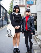 Harajuku Girls in Black/White & Black/Red Street Fashion w/ Zara, Dr. Martens, (ME), WEGO & More