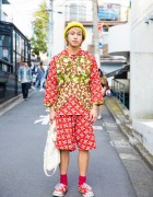 Harajuku Guy in Head-To-Toe Ganryu Comme Des Garcons Paisley Print