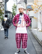 Harajuku Guy in Plaid Street Style by South2 West8 & Converse Sneakers