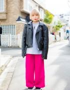 Harajuku Girl w/ Cute Blonde Bob in RIVERSIDEWANG, Bubbles, Faith Tokyo & Nike