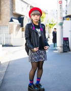 Dip Dye Twin Braided Harajuku Girl in Biker Jacket w/ Candy Stripper, Vision Street Wear & Thrasher
