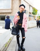 Stylish Harajuku Guy in Pink and Black Fashion w/ LHP, Never Mind the XU, Yosuke & Gypsy Cloth