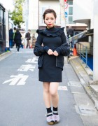 Harajuku Girl in Black Ruffle Dress & Fuzzy Purple Sandals
