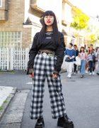 Harajuku Girl in Dark Plaid Street Style w/ Drinkscancode, Faith Tokyo, M.P.Q. & Demonia