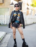 Harajuku Girl in Guns N' Roses Tee, Denim Shorts, Fishnets & Demonia Platforms