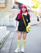 Pink Hair & Cute Smiley Face Fashion in Harajuku w/ Spinns, WEGO & Thank You Mart