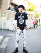 Harajuku Guy in Punk-Inspired Street Style w/ Nirvana & Dr. Martens