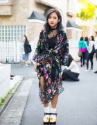 Harajuku Girl in Lace Dress & Floral Print Kimono Coat Street Fashion