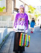 Purple-Haired Harajuku Girl in Funktique, 032c, Delta & John's By Johnny