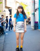 Harajuku Girl in Metallic Mini Skirt, Text Tee, Platform Creepers & Hoop Earrings
