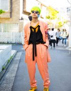 Neon-Haired Harajuku Guy in Junko Koshino Blazer & Pleated Pants Ensemble
