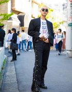 Blonde-Haired Harajuku Guy in Versace Blazer, MYOB Pants & Carven Boots
