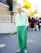 Harajuku Guy in Green Streetwear w/ Vintage Items, Burberry, Converse & Harley Davidson