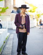 Harajuku Guy in Top Knot Wide Brim Hat, DoLuKE, SYU.Homme/Femme & John's by Johnny