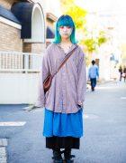 Aqua-Haired Harajuku Girl in Oversized Street Style w/ Resale, Ralph Lauren & Dr. Martens