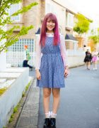 Pink-Haired Harajuku Girl in Checkered Jumper Dress & Bubbles Lace Top