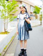 Harajuku Girl in Sailor Cap, Sequin Dress & Tokyo Bopper Zipper Platforms