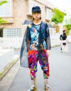 Japanese Fashion Student in Colorful Graphic Style w/ Dog Harajuku & JPGC