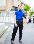 Pink-Haired Harajuku Guy in John Lawrence Sullivan Turtleneck & Leather Pants