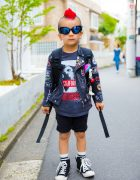 6-Year-Old Harajuku Kid w/ Mohawk in Patched Jacket, Hysteric Mini, Diesel Kids & XLarge