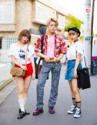 Harajuku Trio in Street Styles by Oh Pearl, Faith Tokyo, Richardson, Chanel, Jouetie, Gucci, Dr. Martens & Converse