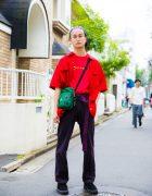 Pink-Haired Harajuku Guy in Streetwear Style w/ Vans, Nike, Dickies & Prada
