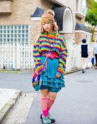 Harajuku Girl in Vintage Rainbow Street Style w/ Kobinai, Haight & Ashbury, Juxtaposition & Kinji