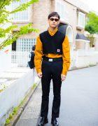 Harajuku Guy in Xander Zhou Street Style, Sunglasses & Prada Dress Shoes