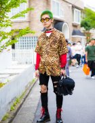 Green-Haired Harajuku Guy in Colorful Street Style w/ Leopard Print Shirt, Skinny Jeans & Dr. Martens