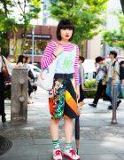 Harajuku Girl in Colorful Eclectic Fashion w/ Dog Harajuku, Pinnap & Village Vanguard