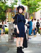 All Black Harajuku Street Style w/ Beret, Belt Choker & Tokyo Bopper Bow Platforms