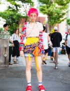 Harajuku Girl in Colorful Vintage Fashion w/ Bubbles, Calvin Klein, Adidas & UFO Catcher Bag