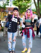 Pink-Haired Harajuku Girls in Ripped Jeans w/ Vintage Chanel, Tory Burch & UNIQLO