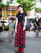 Red & Black Japanese Street Style w/ Otoe & Tokyo Bopper Platform Sandals