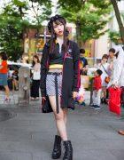Harajuku Girl in Checkerboard Skirt & Fishnets w/ Kobinai, Bad Store, Gallerie & Nice Claup