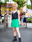 Blonde Harajuku Girl in Vintage Street Style w/ Leopard Print, American Apparel, Dr. Martens & UNISEX.jp