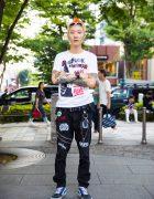 Harajuku Punk w/ Orange Hair, Tattoos, KAPPUNK Festival Tee, Zipper Pants & Vans