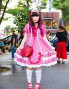 Gingham Lolita Fashion On the Street in Harajuku w/ Baby, The Stars Shine Bright & Angelic Pretty