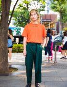 Harajuku Guy in Green & Orange Streetwear Style by Japanese Brand John Lawrence Sullivan