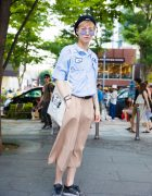 Harajuku Streetwear Look w/ Resale Uniform Shirt, Beret, Sostrene Grene Bag & Nike Sneakers