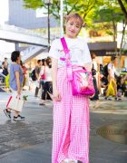 Harajuku Girl in Pink Plaid Fashion w/ Crayon Shin-chan, Little Sunny Bite & Jeffrey Campbell