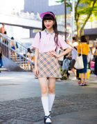 Harajuku Model/Actress in Plaid Street Style w/ Kinji, San To Nibun No Ichi, WEGO & Chanel