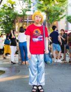 Harajuku Girl w/ Yellow Hair & Round Glasses in WEGO, Spinns & Gap Kids