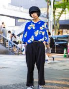 Harajuku Guy in Resale Floral Street Style w/ Converse Sneakers & Newsboy Cap