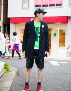 Harajuku Guy in Leather Newsboy Hat, Vintage Blazer, Leather Shorts & Converse Sneakers
