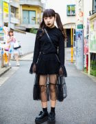 Harajuku Girl in Dark Streetwear w/ Nadia Sheer Skirt & Platform Creepers