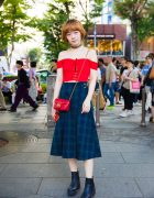 Harajuku Girl in Corset Crop Top & Plaid Midi Skirt w/ Topshop, 3/4 Three Quarter & Gucci