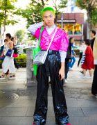 Neon-Haired Japanese Stylist in Vinyl Street Fashion w/ Balmain, Faith Tokyo & Bershka