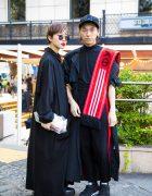 Harajuku Duo in Black Vintage Minimalist Fashion w/ Yohji Yamamoto, Gosha Rubchinskiy, Ground Y, Tokyo Bopper, Mame & Dholic