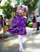 Kawaii Purple Street Fashion in Harajuku w/ Milk, Swimmer, Monomania, Monster Berry & Disney Store